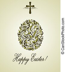 Greeting easter card with floral vintage olive egg shape