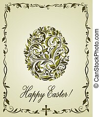 Greeting easter card with vintage olive floral egg shape