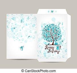 Greeting envelope design, female birthday tree