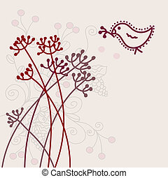 Greeting floral card with bird