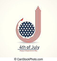 Greeting for Happy Independence Day of United States 4th...