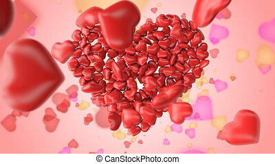Greeting for Valentine's day with colorful hearts