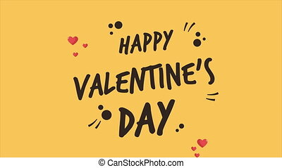Greeting happy Valentine day with animation ornament and love