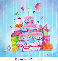 Greeting illustration cake
