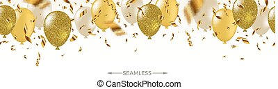 Celebratory seamless banner - white, yellow, glitter gold balloons and golden foil confetti. Vector festive illustration. Holiday design.