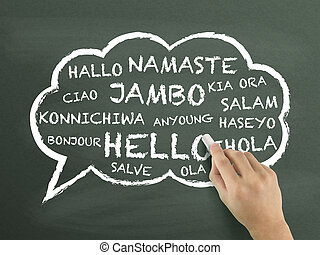 greeting in different language written by hand over ...