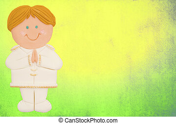 greeting invitation card, first communion, cute blond boy