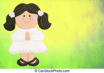 greeting invitation card, first communion cute girl brown