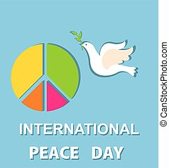 Greeting light blue card with paper cut out peace symbol and dove for International Peace day. Flat design