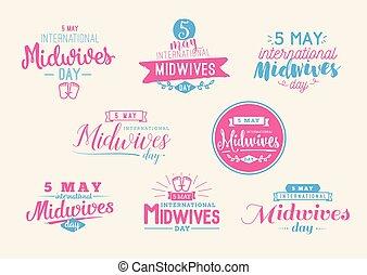 greeting., may., typography., vetorial, 5, midwives, internacional, dia