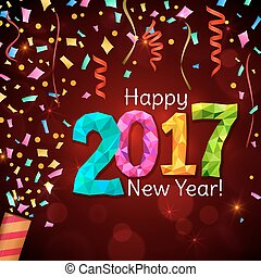 Greeting New Year 2017 red background