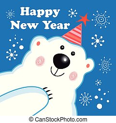 Greeting new year greeting card with a polar bear