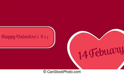 Greeting of animation Valentine day and the date fourteen ferbruary. Valentine collection