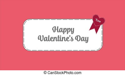 Greeting of happy Valentine's day with animation ribbon love