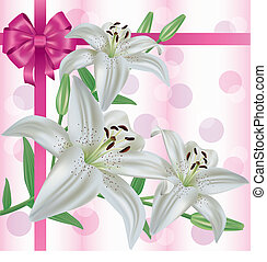Greeting or invitation card with flower lily