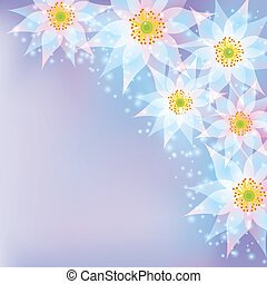 Greeting or invitation card with flowers, abstract background
