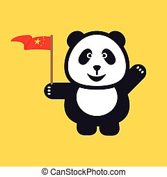 Greeting Panda is holding red national flag of China