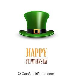 greeting., patrick, s., c/, p, verde, hat., st.patrick, día, feliz