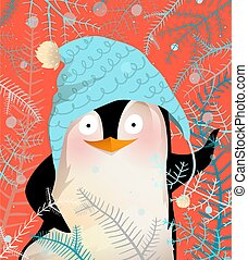 Greeting Penguin Celebrating Christmas or New Year