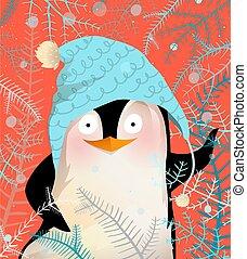 Greeting Penguin Celebrating Christmas or New Year