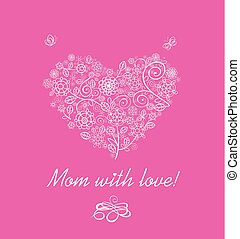 Greeting pink card with flowers lacy bouquet for Mothers day