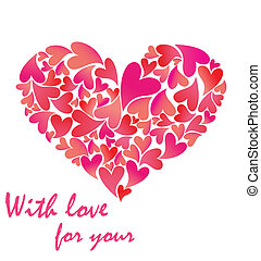 Greeting pink card with heart