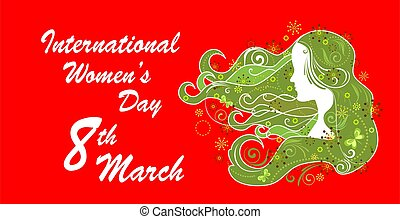 Greeting placard for International Women's Day March 8th with woman green profile and abstract floral pattern on the red background