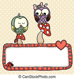 Greeting postcard with cute owls in love