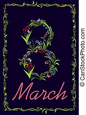 Greeting retro card with spring flowers bouquet for International Women?s Day 8th March on the dark background