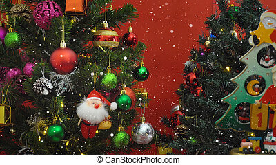 Greeting Season concept.Santa Claus show 1 days till Xmas with ornaments on a Christmas tree with decorative light