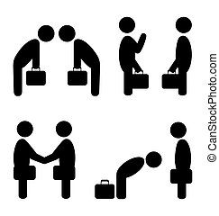greeting situation icons - Set of greeting etiquette...