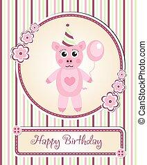 greeting template cute children s birthday party, cartoon pig
