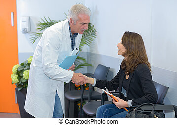 greeting the patient