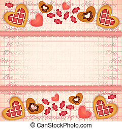 Greeting Valentines Card with Sweet Hearts