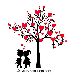 Greeting Valentine's Day card with tree of hearts and kids kissi