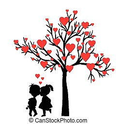Greeting Valentine's Day card with tree of hearts and kids kissing