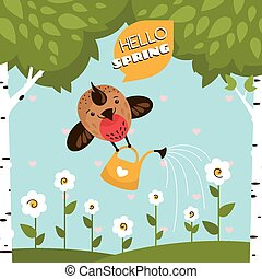 Greeting vector card with a cute bird