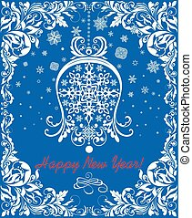 Greeting vintage blue card for winter holidays with paper cut out hanging white bell, snowflakes and floral decorative border