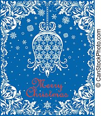 Greeting vintage blue Christmas card with floral paper cut out hanging whit bell, snowflakes and floral decorative border