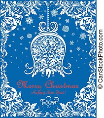 Greeting vintage blue Christmas card with floral paper hanging bell and floral decorative border