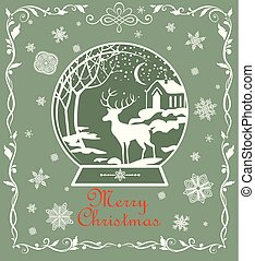 Greeting vintage Christmas light green  card with decorative frame and paper cut out snowflakes, globe with winter landscape and reindeer
