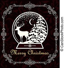 Greeting vintage Christmas sweet card with decorative frame and paper cut out globe with winter landscape and reindeer