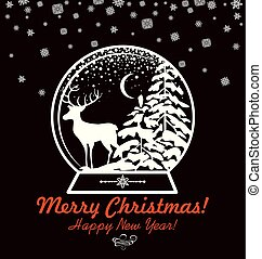 Greeting vintage Christmas sweet card with paper cut out globe with winter landscape and reindeer