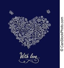 Greeting violet card with beautiful lacy bouquet