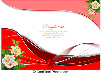 Greeting Wedding card with rose%u2019s