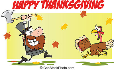 Greeting With Pilgrim With A Turkey