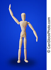 Greeting wooden toy figure on blue
