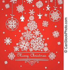 Greeting xmas red card with paper snowflakes, fir and...