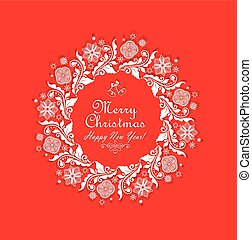 Greeting xmas red card with cut out paper vintage