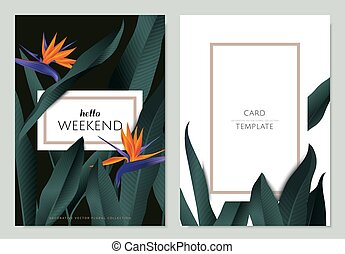Greeting/invitation card template design, Bird of paradise flowers with leaves on black and white background with frame